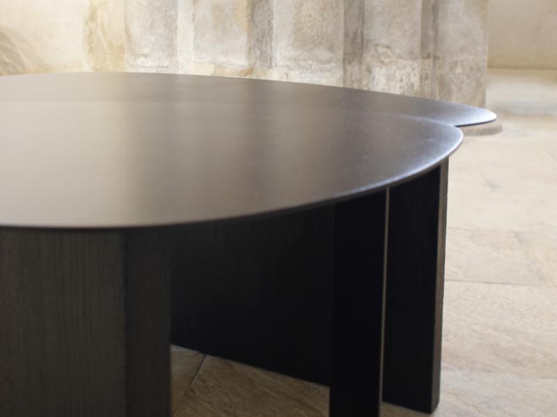 tables basses acier laqué noir bois brulé guillaume talmont artisan designer